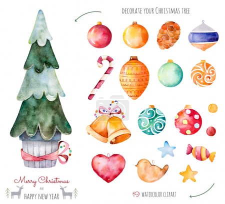 Merry Christmas and Happy New Year watercolor set.