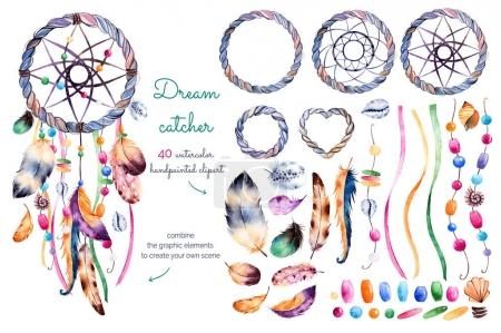 Watercolor hand painted collection with 40 elements