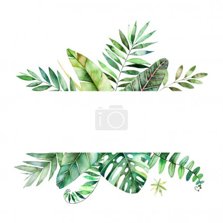 Photo for Colorful watercolor frame border with colorful tropical leaves. Tropical forest collection.Perfect for wedding,frame,quotes,pattern,greeting card,logo,invitations,lettering etc - Royalty Free Image