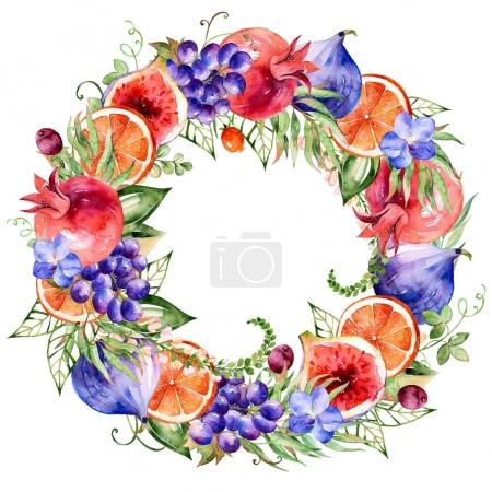Colorful round frame of watercolor flowers