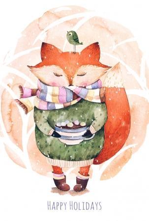 Cute little fox just like to drink hot coffee