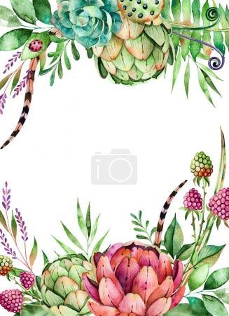 Photo pour Modèle sans couture coloré avec des plantes succulentes, des pierres de galets, des branches et plus encore.Parfait pour votre projet, mariage, carte de vœux, emballage, papier peint, motif, texture, couverture - image libre de droit
