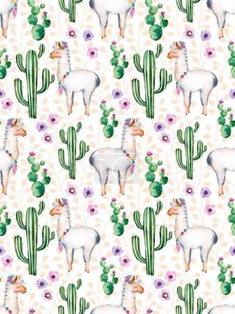 Photo pour Texture avec des éléments d'aquarelle peints à la main de haute qualité pour votre conception avec des plantes de cactus, des fleurs et des lamas.Pour votre création unique, papier peint, fond, blogs, modèle, invitations et plus encore - image libre de droit