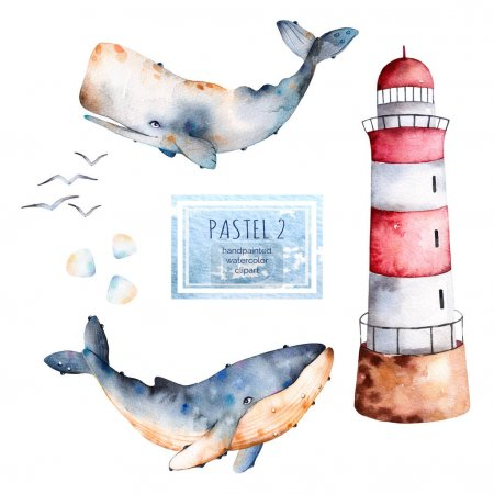 Seamless pattern with watercolor whales