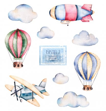 Watercolor collection with air balloons