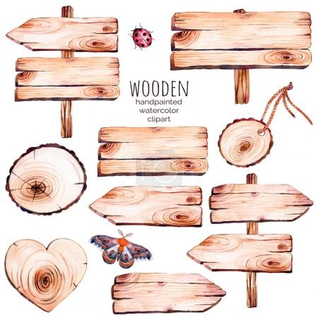 Photo for This handpainted collection of 9 watercolor wood slices clipart.Wood pointer, board,wooden heart,butterfly in watercolor.Can be used for frames,invitations,lettering,wedding,greeting cards and more. - Royalty Free Image