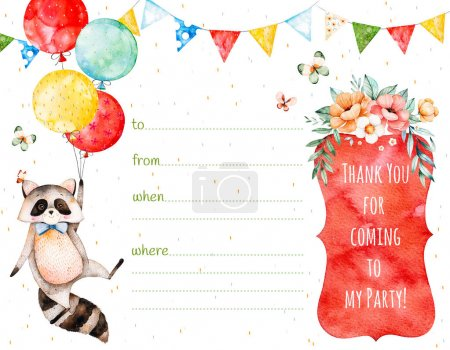 Watercolor postcard with raccoon