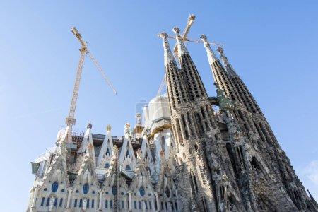 Facade of the Sagrada Familia in Barcelona, Catalonia, Spain
