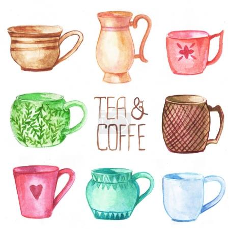 Cups and mugs watercolor set.