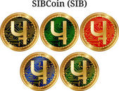 Set of physical golden coin SIBCoin (SIB)
