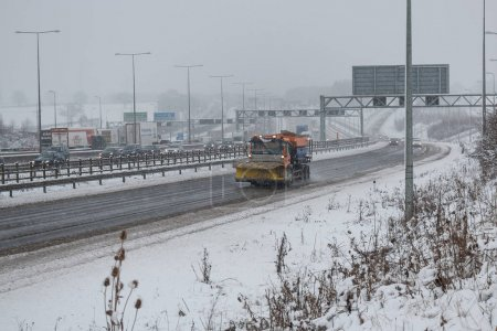 British motorway M1 during snow storm