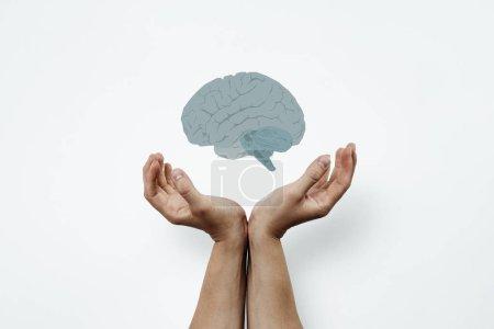 Photo pour Mains disposées dans un geste de soutien. Deux mains empilées côte à côte comprennent le cerveau. Concept médical, tumeur cérébrale. Aider les autres, le soutien dans les problèmes cérébraux, alzhaimer . - image libre de droit