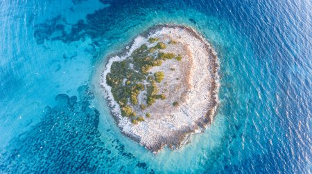 Photo for Top drone view of an island in the Mediterranean sea - Royalty Free Image