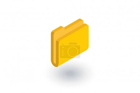 Yellow file folder isometric flat icon. 3d vector