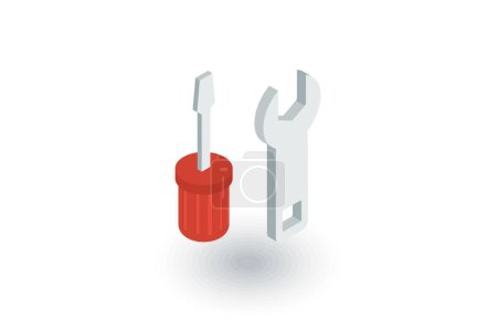 Screwdriver, wrench tool, setup, settings isometric flat icon. 3d vector