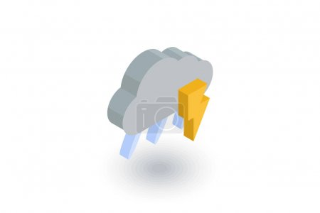Lightning, thunder storm, rain and cloud isometric flat icon. 3d vector