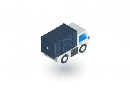 Truck cab, van body, container isometric flat icon. 3d vector