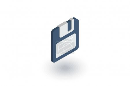 save data, diskette isometric flat icon. 3d vector