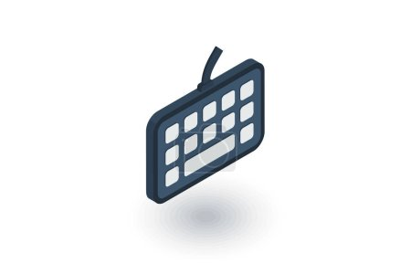 Keyboard buttons isometric flat icon. 3d vector