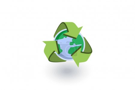 Recycle arrows and earth isometric flat icon. 3d vector
