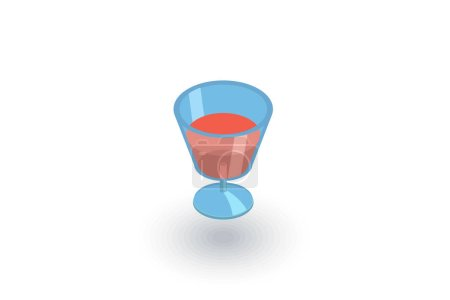 Wine or cocktail glass icon isometric flat icon. 3d vector