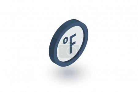 degree Fahrenheit isometric flat icon. 3d vector