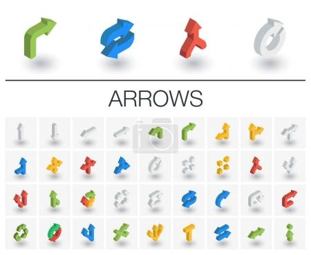 Arrows and direction isometric icons