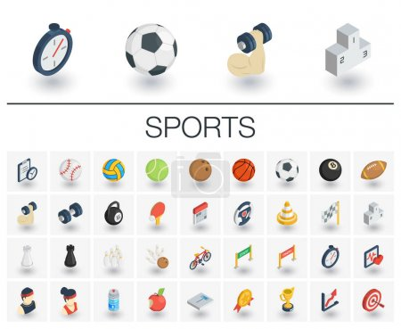 Sport and fitness isometric icons