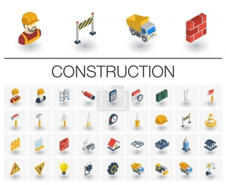 Construction, industrial isometric icons