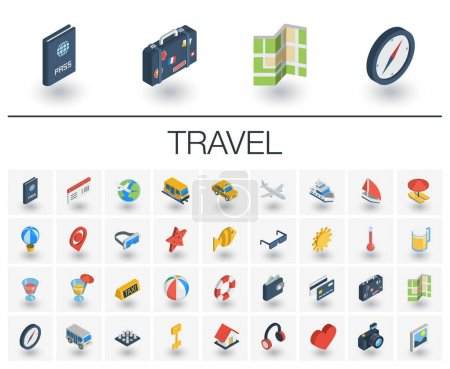 Travel and tourism isometric icons