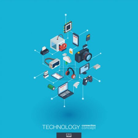 Illustration pour Icônes web 3D intégrées à la technologie . - image libre de droit