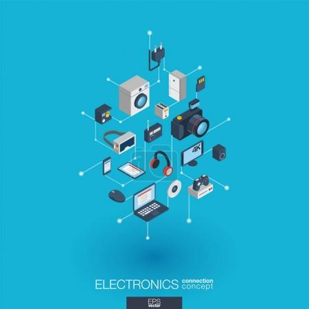Illustration for Electronics integrated 3d web icons. - Royalty Free Image