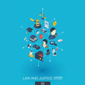 Law and justice integrated 3d web icons vector illustration