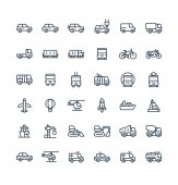 Vector thin line icons set with public transport cars outline symbols