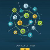 Abstract contact us call center background Digital connect system with integrated circles flat icons Network interact interface concept Technical support service vector infographic illustration