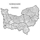 Detailed map of the Region of Normandy (France) with borders of municipalities subdistricts (cantons) districts (arrondissements) and departments (departements) Vector illustration