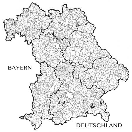 Detailed map of the State of Bavaria (Germany) with borders of municipalities, municipalities associations, subdistricts, and state. Vector illustration