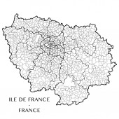 This vector map of the French region Ile de France includes 6 editable layers for each of the 5 administrative levels (municipalities subdistricts (cantons) districts (arrondissements) departments and region) and the background