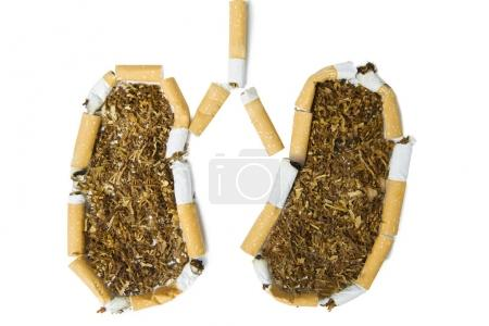 Broken cigarettes shaping lung