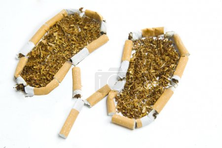 Cigarettes and tobacco on white background