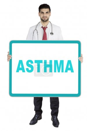 Italian doctor showing asthma word