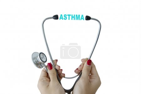 Female physician with stethoscope and asthma word