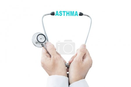 Anonymous male physician with asthma word