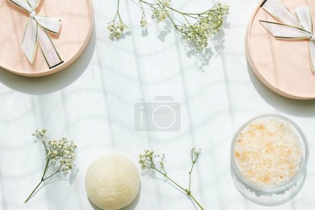 Photo for Beauty or cosmetics gift set background, Top view with copy space. (Color Processed) - Royalty Free Image