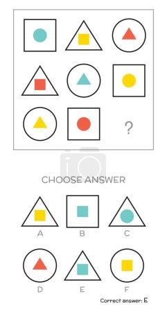 Illustration for IQ test. Choose answer. Logical tasks composed of geometric shapes. Vector illustration - Royalty Free Image