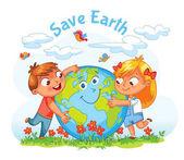Earth Day Boy and girl hugging the Globe