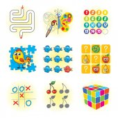 Logic games for kids Funny cartoon character Vector illustration Isolated on white background Set
