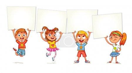 Photo pour Des enfants tenant un tableau blanc vide. Les enfants sont élevés sur des affiches. Vacances, fête, fête. Prêt pour votre message. Espace pour le texte. Drôle de personnage de dessin animé. Isolé sur fond blanc - image libre de droit