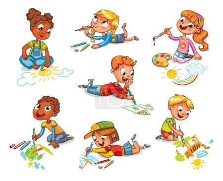 Illustration pour Les petits enfants dessinent des crayons et des peintures posés sur le sol. Enfant couché sur le ventre et faisant un dessin sur un papier. Drôle de personnage de dessin animé. Illustration vectorielle. Isolé sur fond blanc - image libre de droit