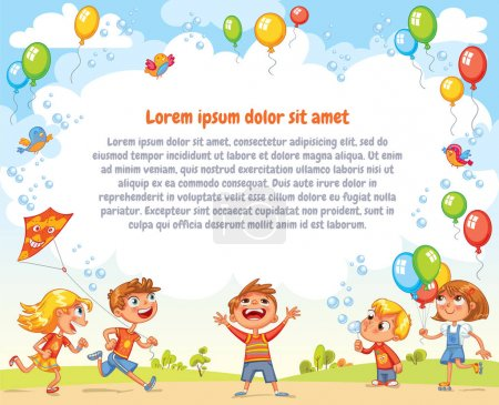 Illustration for Boys and girls are playing in the Amusement park. Playground. Template for advertising brochure. Ready for your message. Children look up with interest. Funny cartoon character. Vector illustration - Royalty Free Image